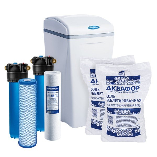Умягчитель Аквафор WaterBoss 900 + Гросс 2 шт. + Фирменная соль Аквафор