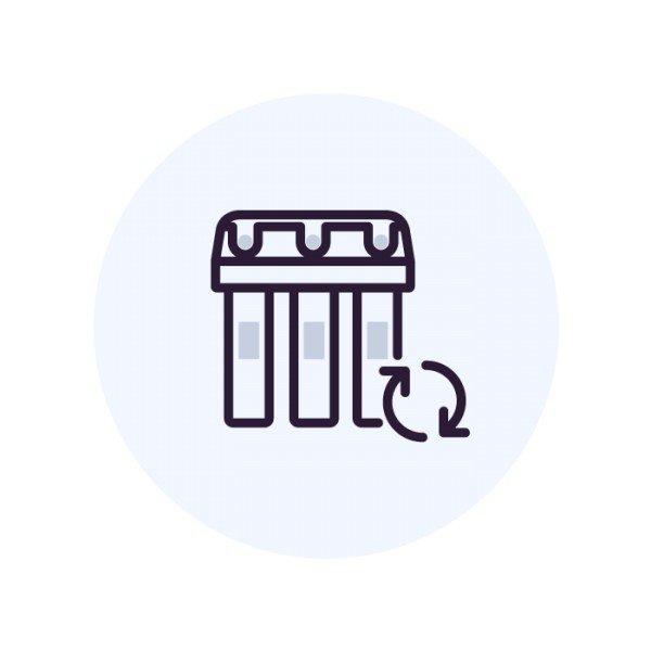 Замена фильтрующих модулей в фильтре с отдельным краном